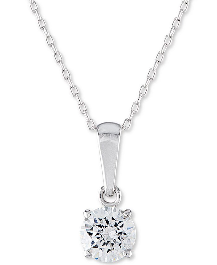 """Macy's - Certified Diamond Solitaire 18"""" Pendant Necklace (1 ct. t.w.) in 14k White Gold"""