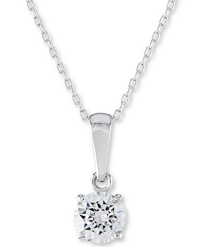 """Macy's - Certified Diamond Solitaire 18"""" Pendant Necklace (1/2 ct. t.w.) in 14k White Gold"""