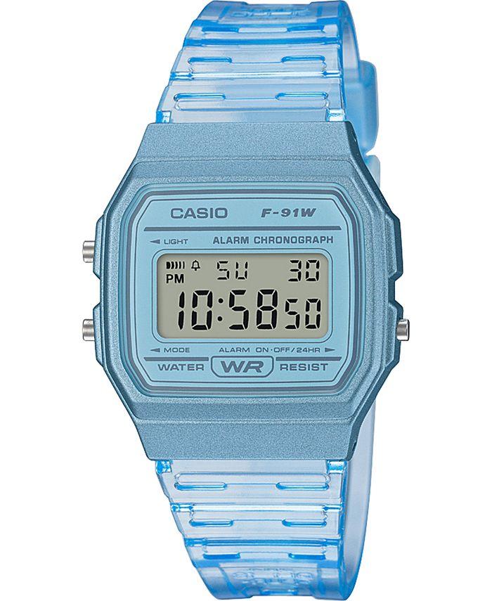 Casio - Unisex Digital Blue Jelly Strap Watch 35.2mm