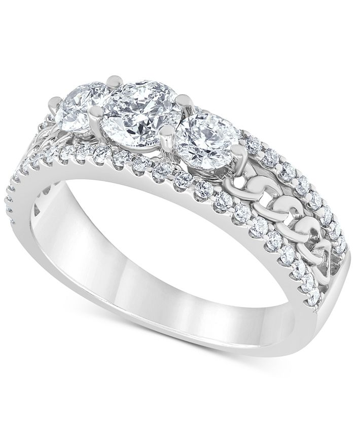 Macy's - Diamond Trio Chain Link Engagement Ring (1-1/4 ct. t.w.) in 14k White Gold
