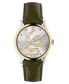 Gucci Men's Swiss G-Timeless Green Calfskin Leather Strap Watch 38mm