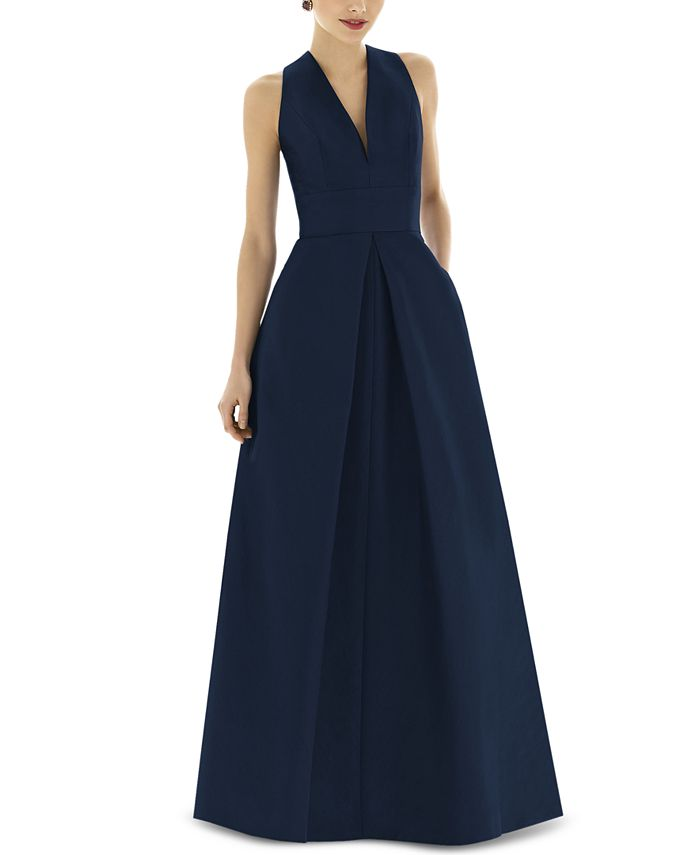 Alfred Sung - Pleat-Skirt A-Line Gown