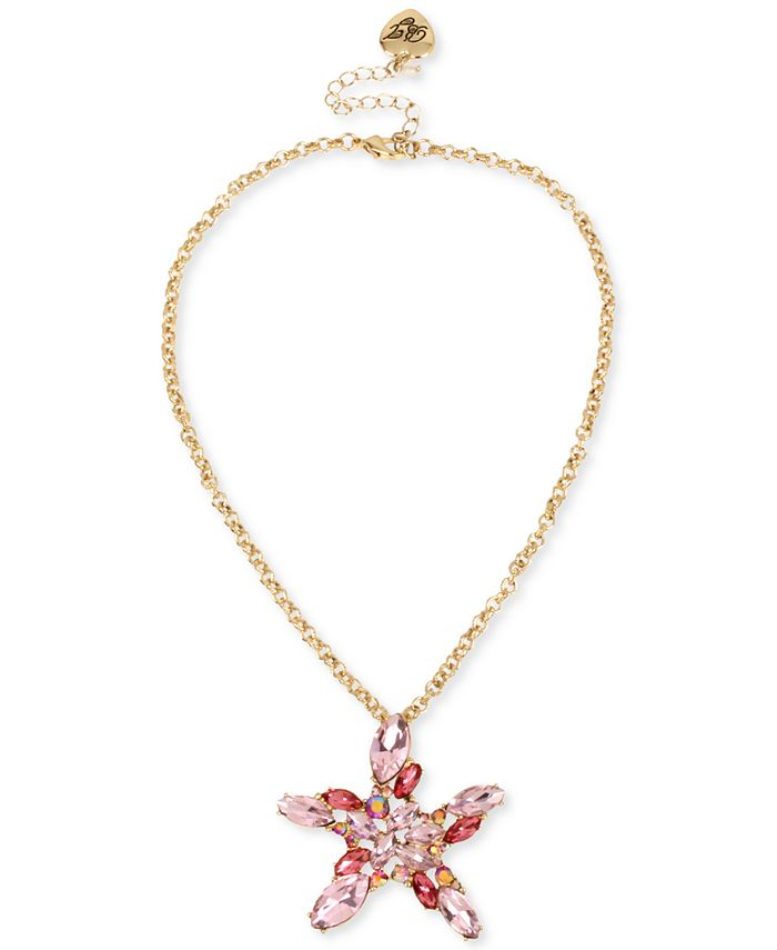 """Betsey Johnson - Gold-Tone Crystal Cluster Starfish Pendant Necklace, 17"""" + 3"""" extender"""