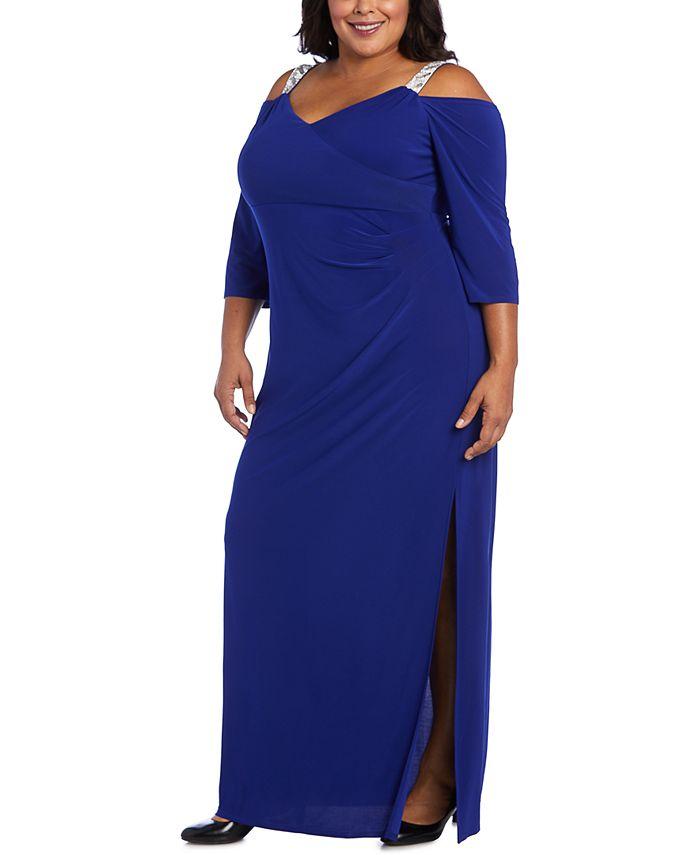 R & M Richards - Plus Size Embellished Cold-Shoulder Gown