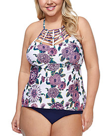 Raisins Curve Trendy Plus Size Wild Romance Boa Tankini Top & Costa High-Waist Bikini Bottoms