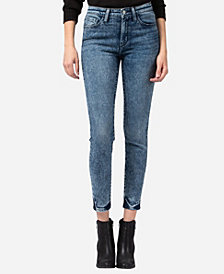 FLYING MONKEY Mid Rise Acid Wash Skinny Ankle Jeans