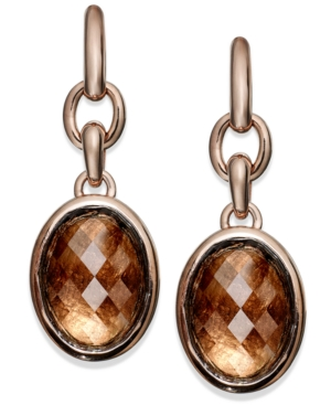 Bronzarte Smoky Quartz Oval Earrings (16-3/4 ct. t.w.) in 18k Rose Gold over Bronze