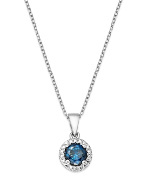 Blue Diamond Pendant Necklace in Sterling Silver (1/2 ct. t.w.)