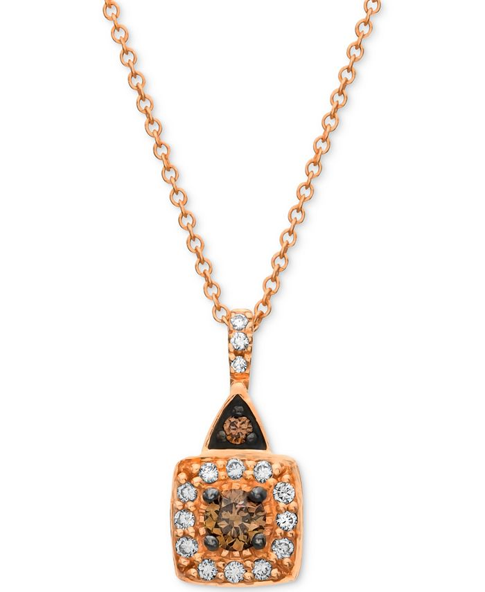 Le Vian - Chocolate and White Diamond (1/4 ct. t.w.) Square Pendant in 14k Rose, Yellow or White Gold