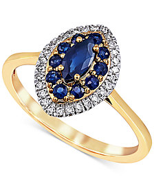 Sapphire (5/8 ct. t.w.) & Diamond (1/6 ct. t.w.) Ring in 14k Gold