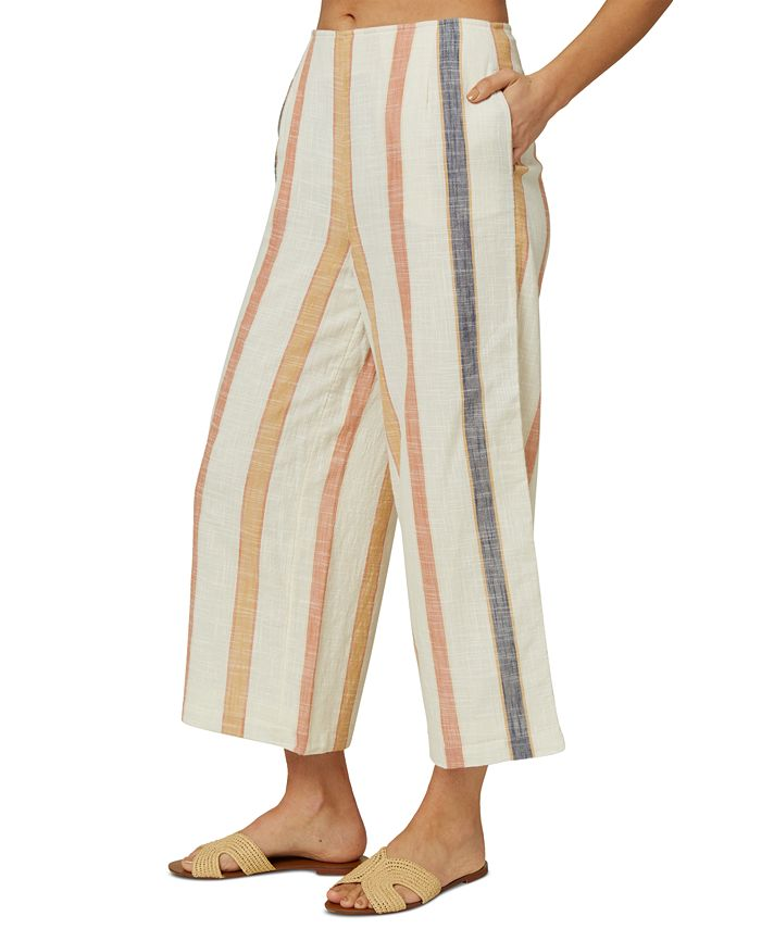 O'Neill - Juniors' Colada Cotton Striped Wide-Leg Pants