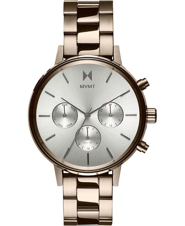 MVMT - Women's Chronograph Nomad Land Beige Gold-Tone Stainless Steel Bracelet Watch 38mm