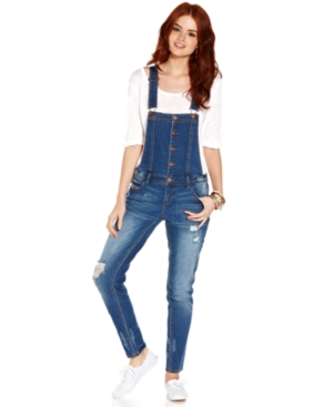 Tinseltown Juniors Jeans, Skinny Destroyed Overalls $ 39.99
