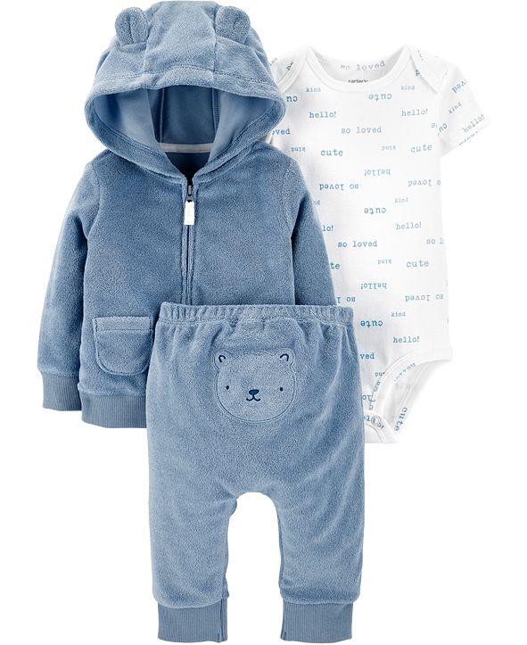 Carter's Baby Boys 3-Pc. Printed Bodysuit, Bear Hoodie & Pants Set