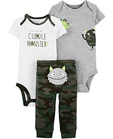 Carter's Baby Boys 3-Pc. Cuddle Monster Cotton Bodysuits & Pants Set