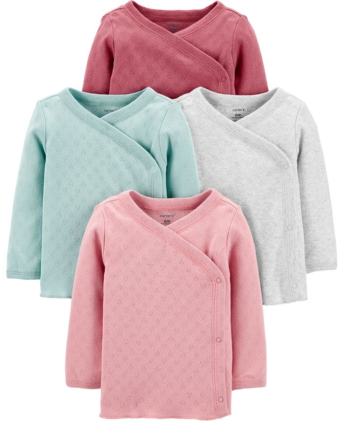 Carter's - Baby Girls 4-Pack Side-Snap Cotton Shirts