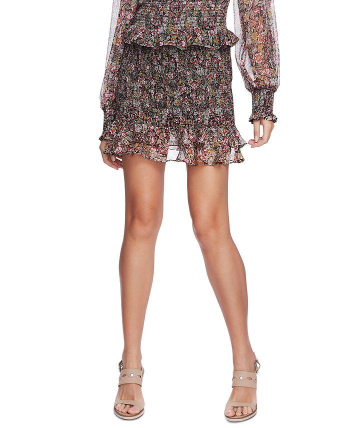 1.STATE - Smocked Floral-Print Skirt