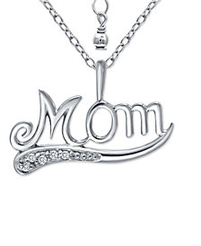 """Giani Bernini Cubic Zirconia Accent """"Mom"""" Pendant Necklace in  Sterling Silver, 16"""" + 2"""" extender, Created for Macy's"""