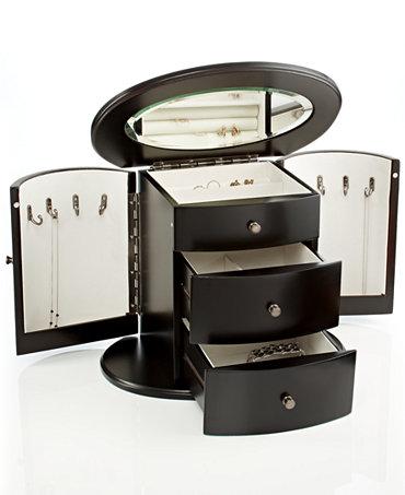 Wallace jewelry box dark mahogany deluxe oval jewelry box for Macy s standing jewelry box