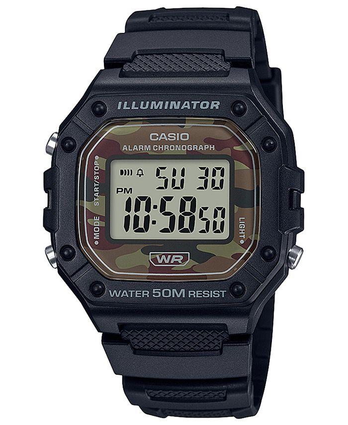 Casio - Men's Digital Black Resin Strap Watch 43.2mmx43.2mm