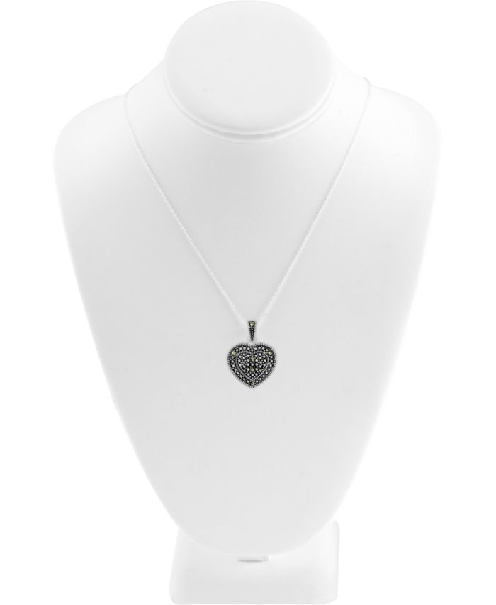 Macy's 2-Pc. Set Swarovski Marcasite Heart Pendant Necklace & Matching Stud Earrings in Fine Silver-Plate & Reviews - Fashion Jewelry - Jewelry & Watches - Macy's