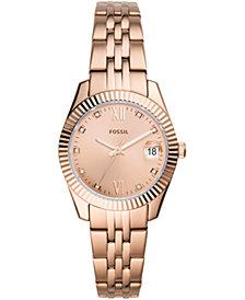 Fossil Women's Scarlet Rose Gold-Tone Stainless Steel Bracelet Watch 32mm