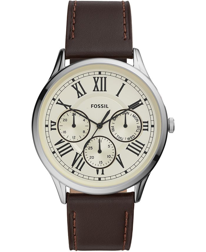 Fossil - Men's Pierce Brown Leather Strap Watch 44mm