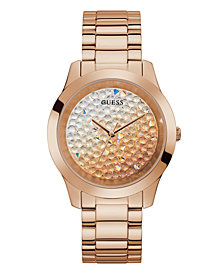 Guess Unisex Rose Gold-Tone Ombre Crystal Bracelet Watch 42mm