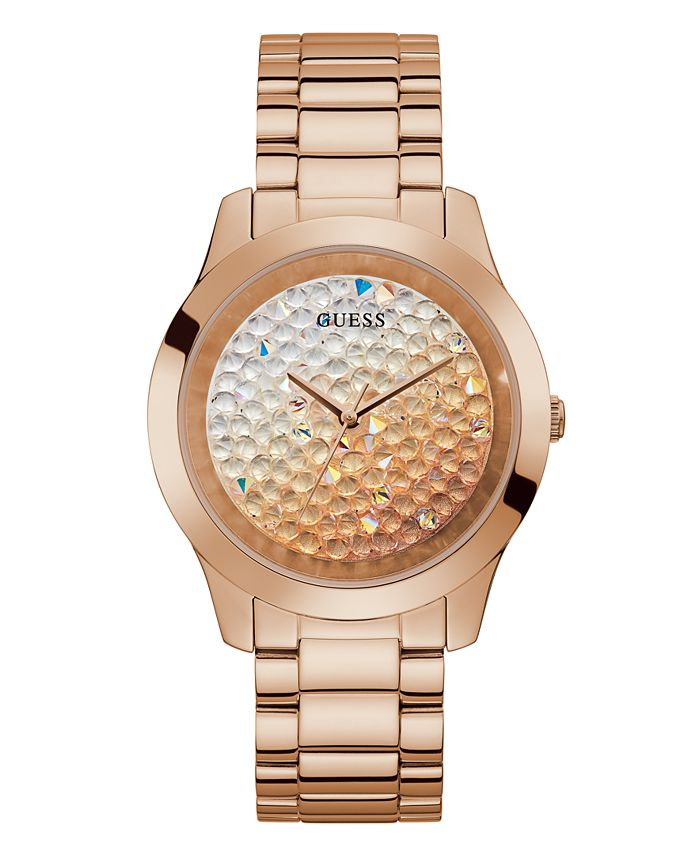 GUESS - Guess Unisex Rose Gold-Tone Ombre Crystal Bracelet Watch 42mm