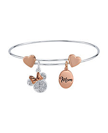 """Rose Gold Two-Tone Minnie Mouse Clear Crystal """"Mom"""" Adjustable Bangle with Silver Plated Charms"""