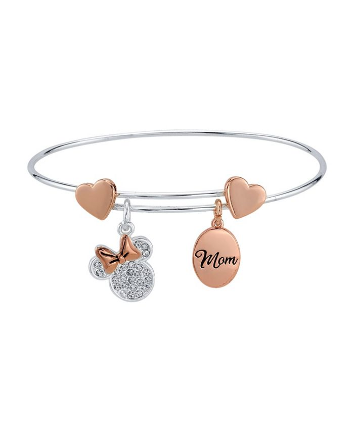 """Disney - Rose Gold Two-Tone Minnie Mouse Clear Crystal """"Mom"""" Adjustable Bangle"""