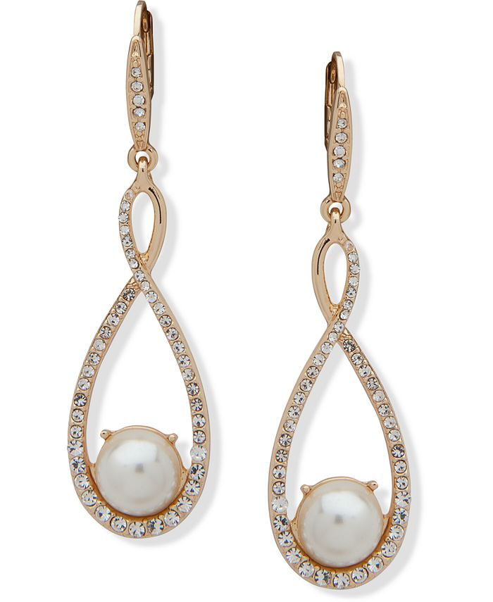 Anne Klein - Gold-Tone Pavé & Imitation Pearl Drop Earrings