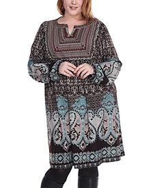 White Mark Women's Plus Size Phebe Embroidered Sweater Dress