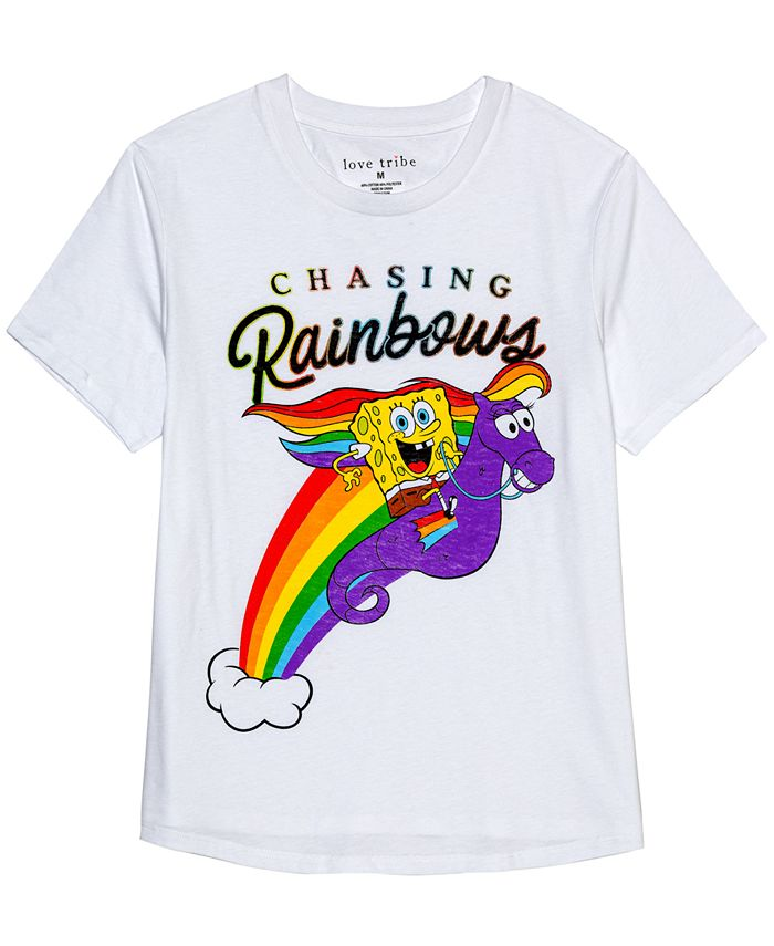 Nickelodeon - Juniors' Spongebob Chasing Rainbows Graphic T-Shirt