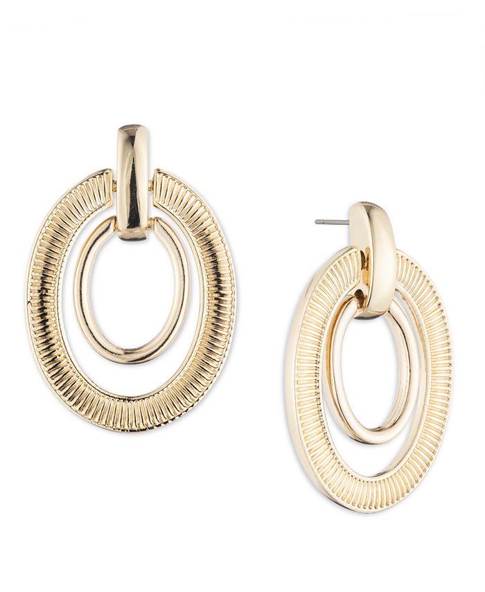Lauren Ralph Lauren - Gold-Tone Textured Oval Link Orbital Drop Earrings