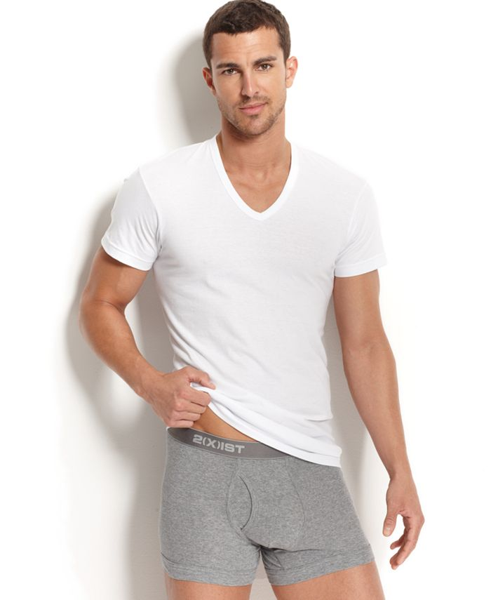2(x)ist - Men's Underwear, Essential Range Slim-Fit Deep V-Neck T-Shirt 3 Pack