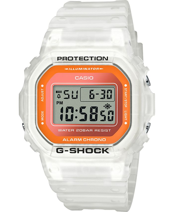 G-Shock - Men's Digital Frosted White Resin Strap Watch 42.8mm
