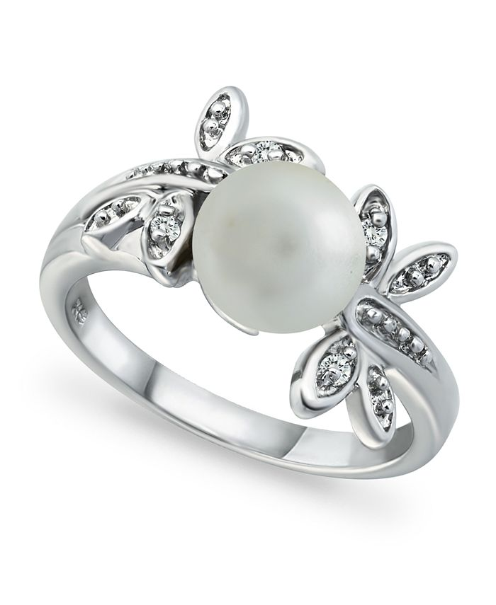 Macy's - Imitation Pearl Cubic Zirconia Dragonfly Ring in Fine Silver Plate