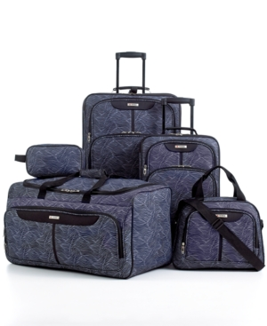 tag fairfield iii zebra print 5 piece luggage set