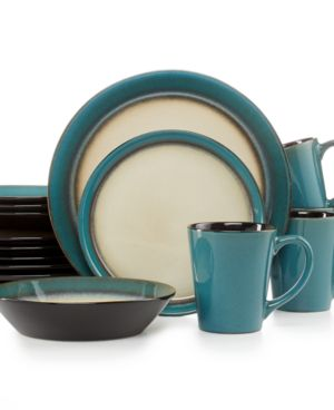 Pfaltzgraff Everyday Dinnerware, Aria Teal 16-Piece Set