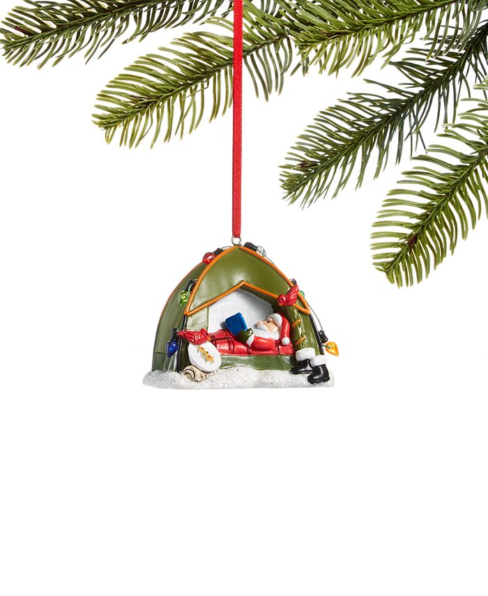 Holiday Lane - All About You Camping Santa Ornament