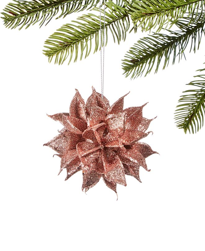 Holiday Lane Burgundy & Blush Glittered Floral Ball Ornament, Created for Macy's