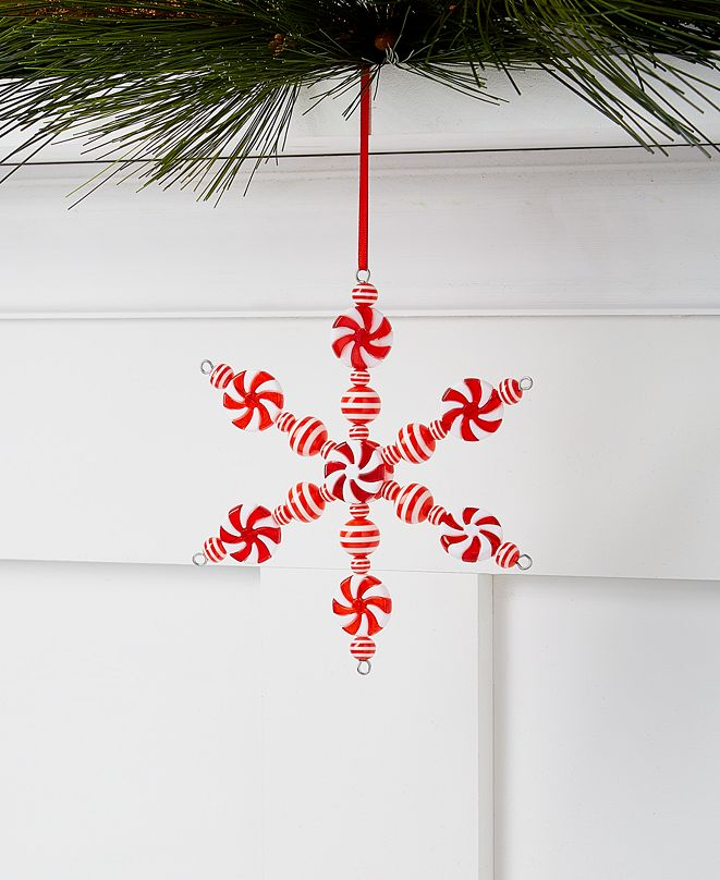 Holiday Lane Peppermint Twist Candy Cane Snowflake Ornament, Created for Macy's