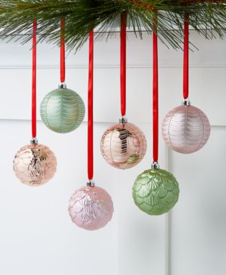 Shimmer and Light, Pink and Green Shatterproof Ornaments, Set of 6, Created for Macy's