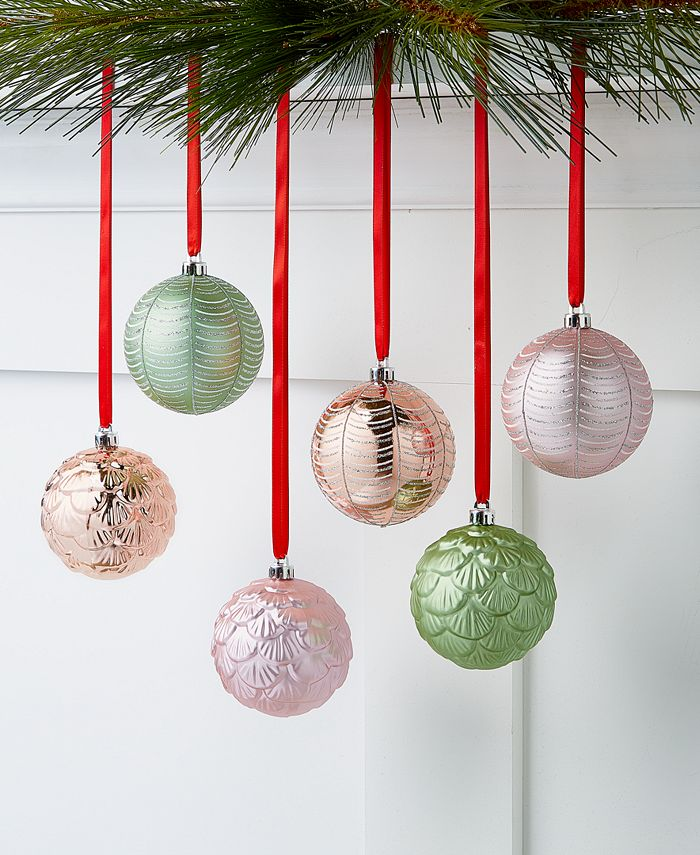 Holiday Lane - Shimmer and Light Pink and Green Shatterproof Ornaments, Set of 6