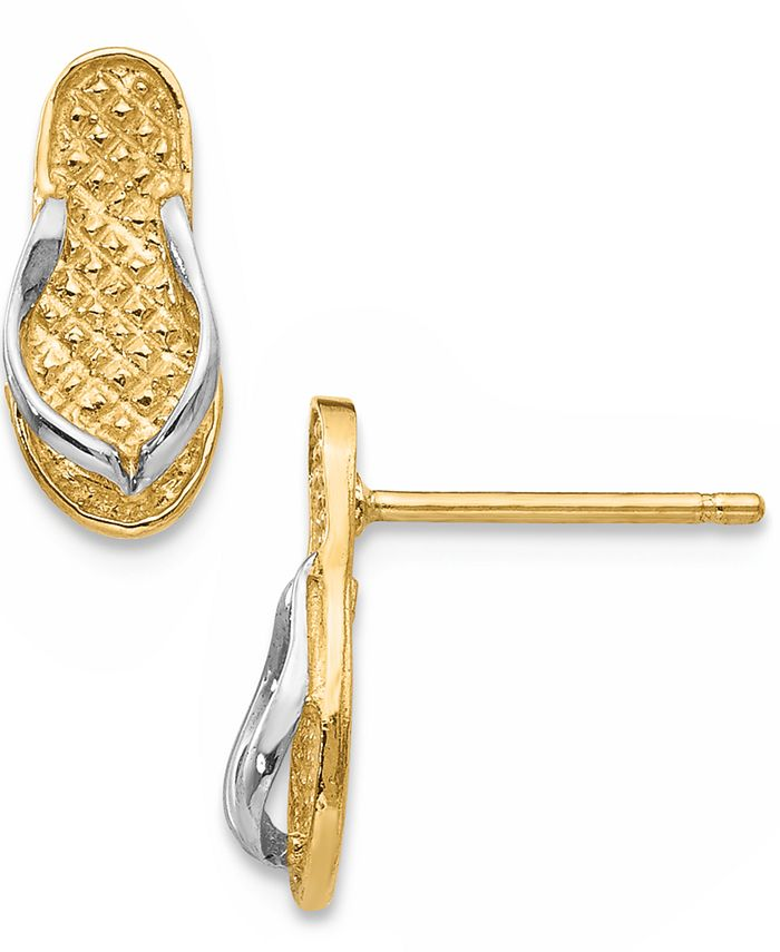 Macy's - Flip Flop Earrings in 14K Gold and Rhodium Plating