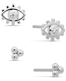 AVA NADRI Silver-Tone 2-Pc. Set Cubic Zirconia Evil Eye Stud Earrings