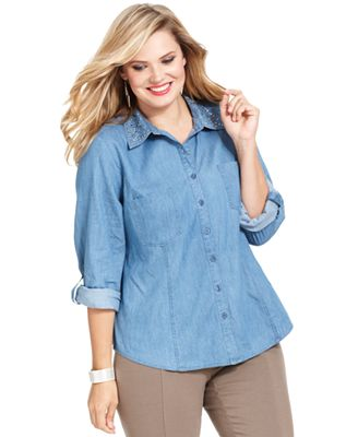 Style Co Plus Size Top Three Quarter Sleeve Studded