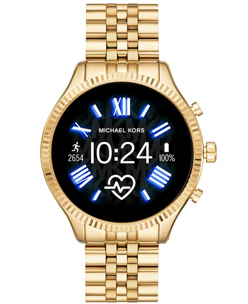 Michael Kors Access Gen 5 Lexington Gold Tone Stainless Steel Bracelet Touchscreen Smart Watch 44mm Powered By Wear Os By Google Reviews Watches Jewelry Watches Macy S