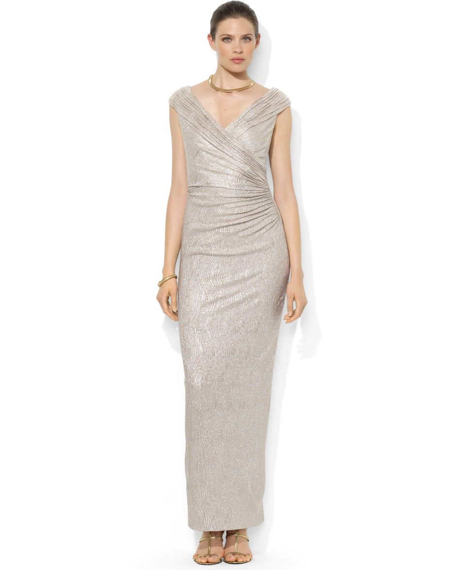 Lauren Ralph Lauren Sleeveless Metallic Ruched Gown   Dresses   Women